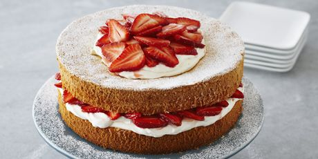 This is an English version of strawberry shortcake. A light sponge cake is layered with a rich whipped cream and strawberries stirred with jam gives it that elegant composed look, perfect for high tea.