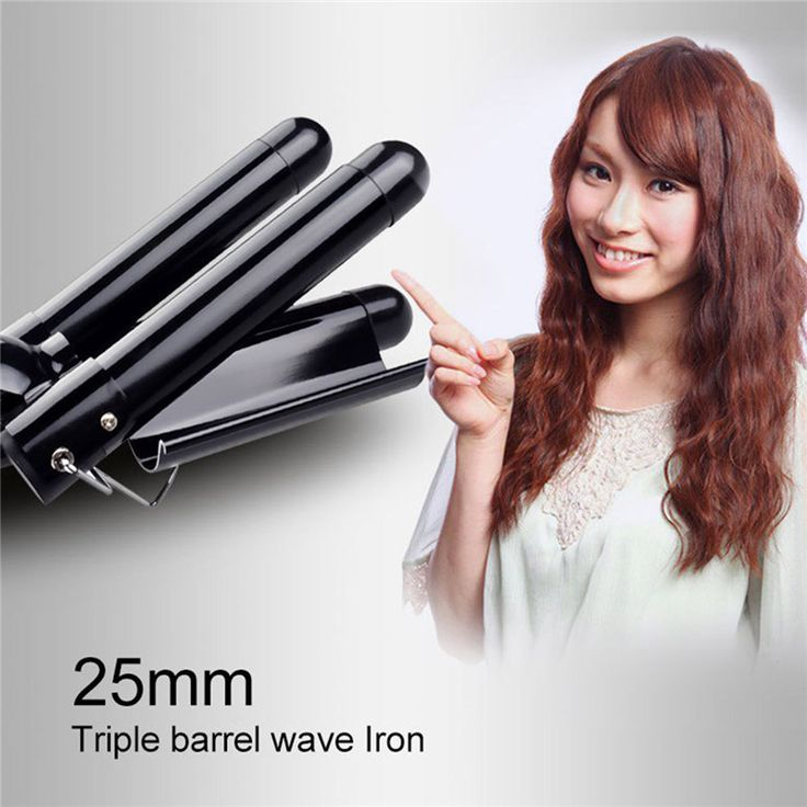 Hair Wave Waver Styling Curlers Three Pipe Ceramic Triple Barrels Curling Iron Electric LCD Hair Curly  #Affiliate