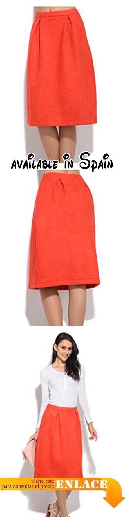 B075SMR79Y : Orfeo - Falda RITA - Mujer - M - Rojo. Falda plisada en la cintura. Cierre con cremallera. 2 Bolsillos. Longitud 68cm