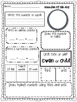 Number of the Day {Daily Common Core math for grades 1-3} This would make fabulous morning work!