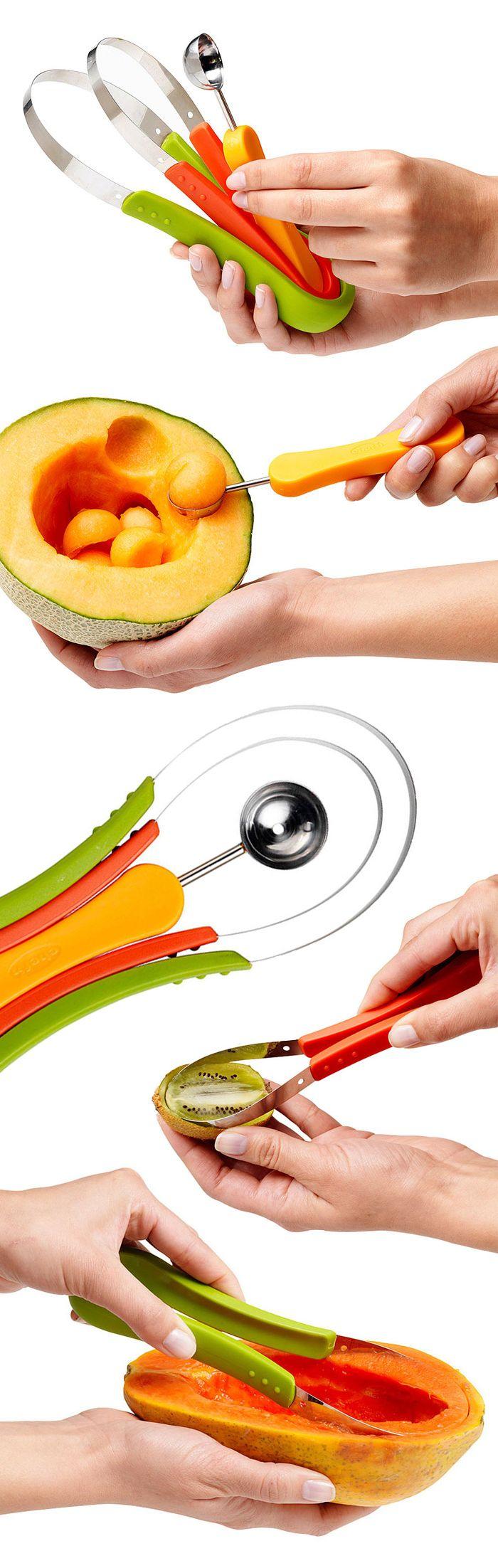 Fruit scoop set with melon baller - makes preparing fruit salad easy #product_design