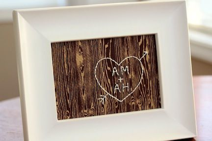 Show your love by embroidering a fake carving on wood fabric.