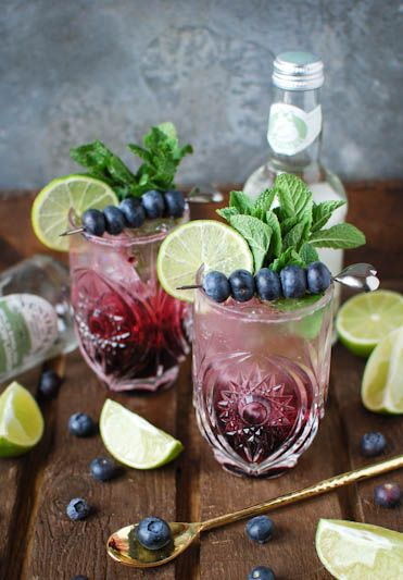 Blueberry and elderflower virgin mojito  For each mocktail : 10 mint leaves 1 1/2tbsp blueberry syrup juice from 1/2 a lime Fentimans Wild English Elderflower Soft Drink