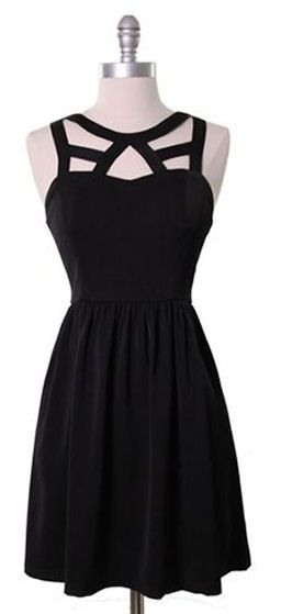 Cage Neckline Dress ♥ #lbd