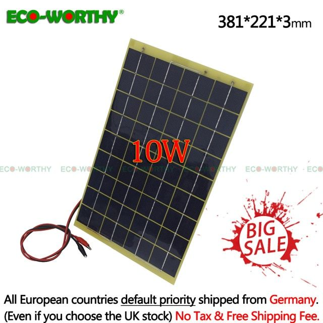 10 Watts 12 Volts Epoxy Solar Panel Module 12v Battery Charger Camping Review Solar Panels Solar Solar Panel Installation