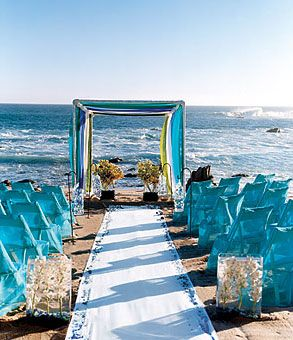 in LOVE with these blue sheer chiffon chair covers