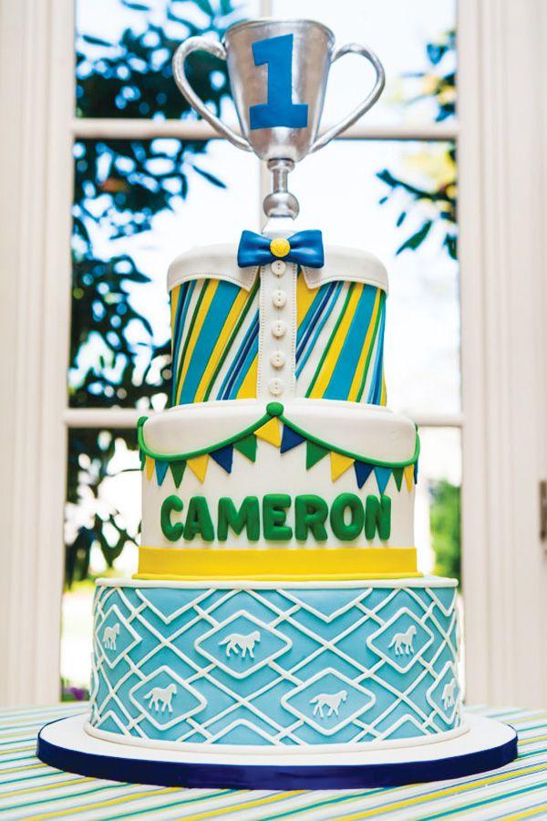 Preppy amp playful dapper derby first birthday party derby cake by
