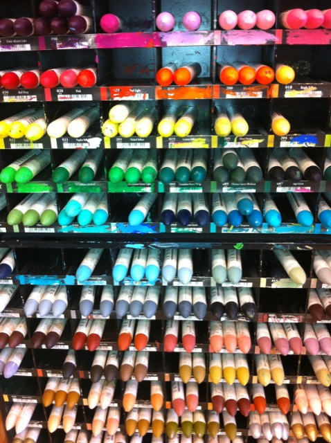 display of sennelier oil pastels at Blicks!  I can stand in front of this for a very long time.