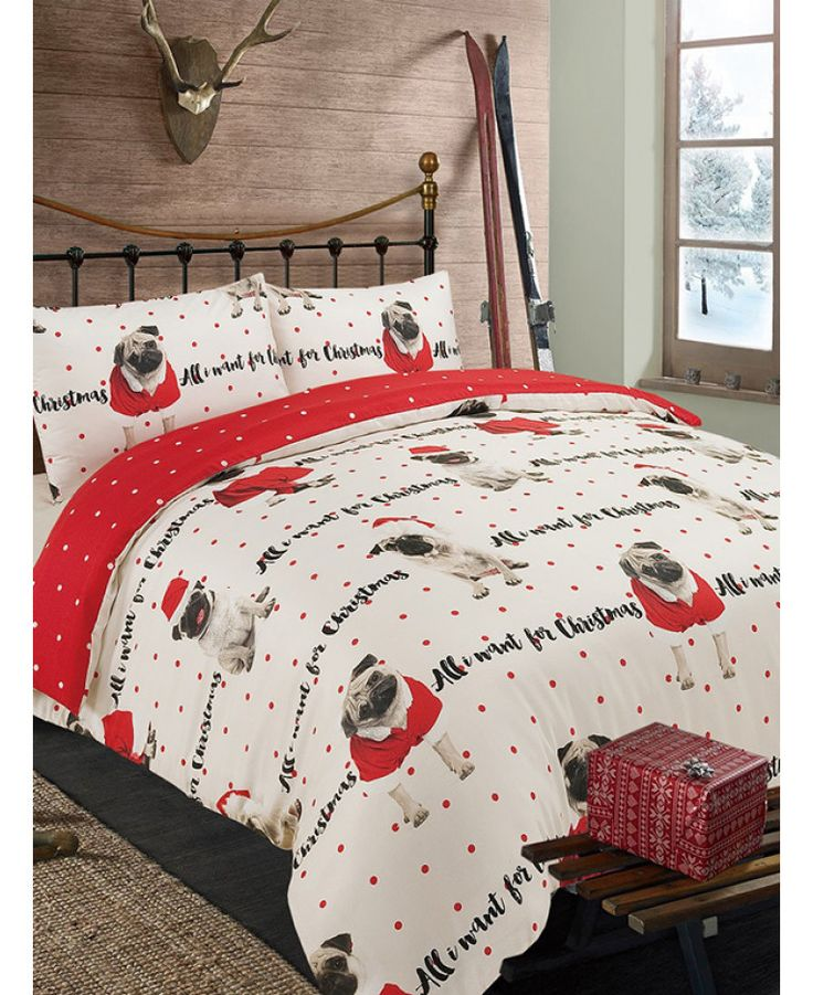 This All I Want For Christmas Pug Single Duvet Cover Set will add a festive finishing touch to any bedroom. Free UK delivery available