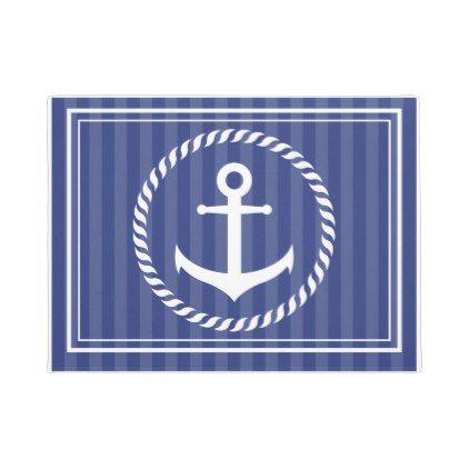 Blue Anchor Striped Nautical Door Mat - pattern sample design template diy cyo customize