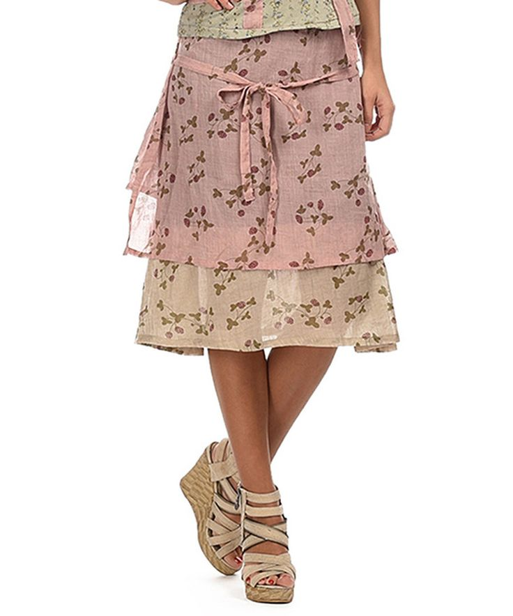 Look at this Ian Mosh Light Pink & Beige Floral Layered Skirt on #zulily today!