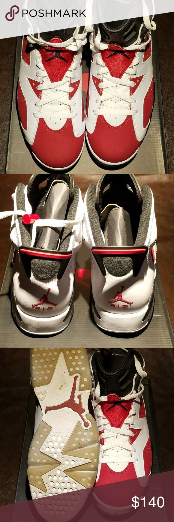 Retro Jordan VI Barely worn Retro Jordan VI Carmines. These Js are a 10.5 and were well kept with shoe stuffing in them during storage. Price is firm!! NO TRADES AND DEAL ONLY THRU POSH! Jordan Shoes Sneakers