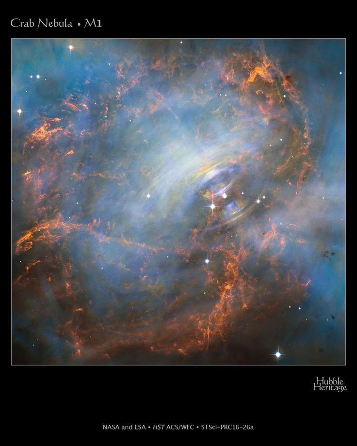 """En el centro de la nebulosa del Cangrejo, situada en la constelación de Tauro, se halla un """"corazón latiendo"""" celeste que es un ejemplo de física extrema en el espacio. El diminuto objeto expulsa pulsos de radiación 30 veces por segundo con la increíble precisión de un reloj. Los astrónomos pronto se dieron cuenta de que se trata del núcleo comprimido de una estrella explotada, llamada estrella de neutrones, que gira alocadamente como una batidora al hacer un puré."""