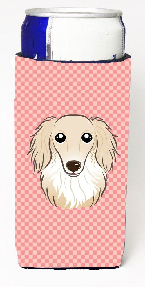 Checkerboard Pink Longhair Creme Dachshund Ultra Beverage Insulators for slim cans