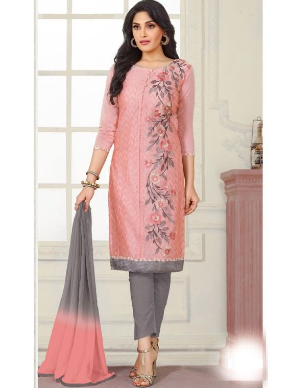 Charming baby Pink and Grey Combination Online salwaar Suit