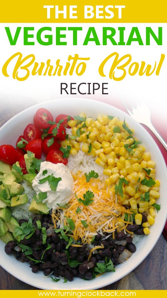 This vegetarian burrito bowl recipe is loaded with flavor. Burrito rice bowls are an easy solution to busy week nights w…