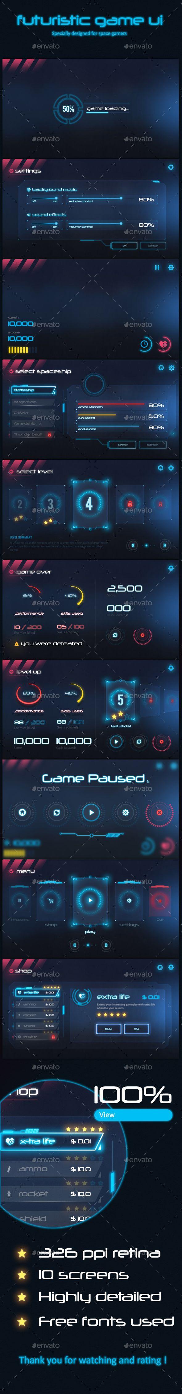 Futuristic Game Ui PSD