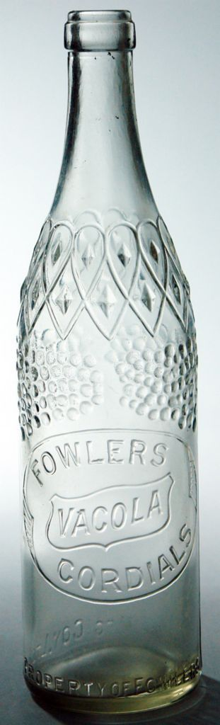 Fowlers Vacola Cordials. Seam through the lip, fully machine made variety. c1930s-1940s.