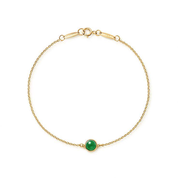 Elsa Peretti® Cabochon bracelet in 18k gold with green jade. | Tiffany & Co.