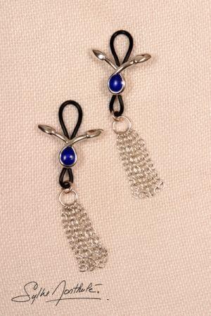 Bijoux de Seins Serpents Larmes Bleues Plaqué Argent