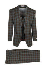 15e2e1b2a32e Tiglio Brown Blue Plaid Roma 3 Piece Suit (RF1122/4) @ SuitYourselfMenswear.