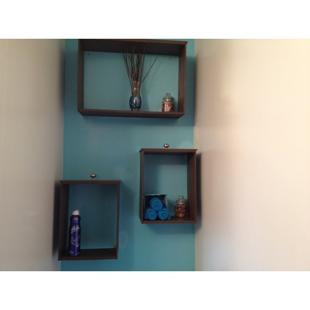 Recycled dresser drawers as shelving