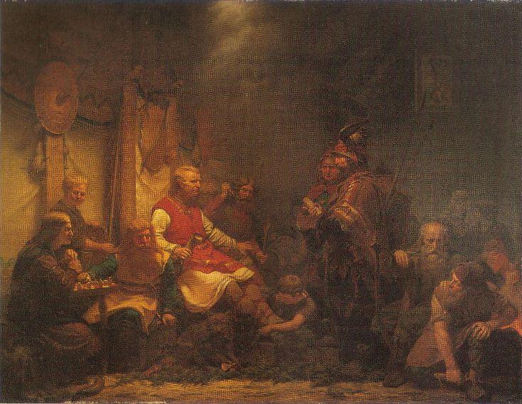 Ælle ou Ella est un roi anglo-saxon, qui régna sur la Northumbrie en 867. Il est présenté, dans les sources scandinaves, comme le meurtrier de Ragnar Lodbrok. Le peintre suédois August Malmström a représenté les Envoyés du roi Ella devant les fils de Ragnar Lodbrok (1857). Pour en savoir plus : http://www.fafnir.fr/aelle.html.