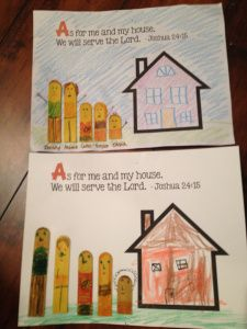 Joshua 24:15 craft idea about obedience and service to God. Link has printables for crafts and posters.
