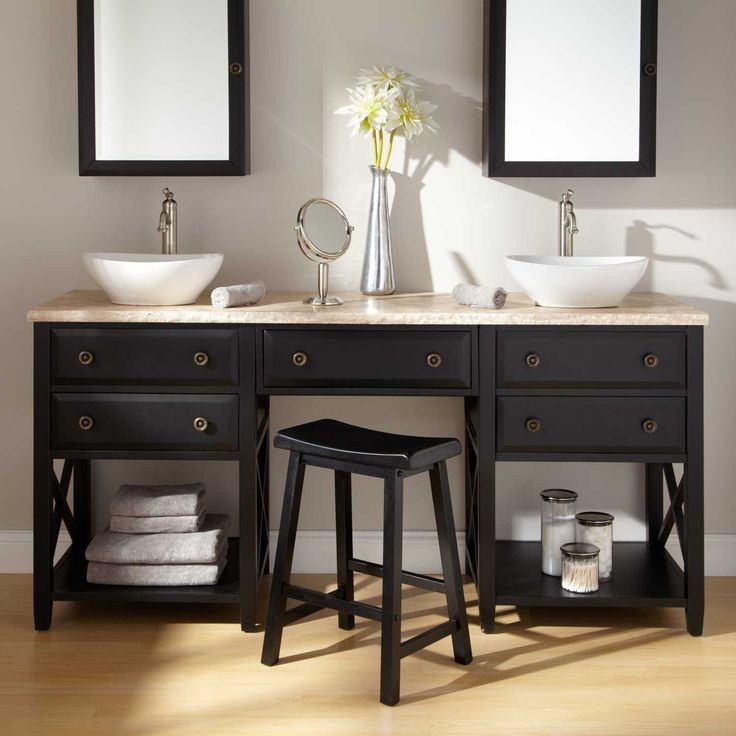 Stylish Double Sink Vanity With Black Wooden Base Open