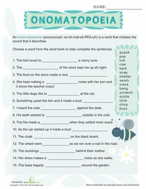 BOOM! This worksheet is full of all kinds of sound-based words, from creaks to squeaks.