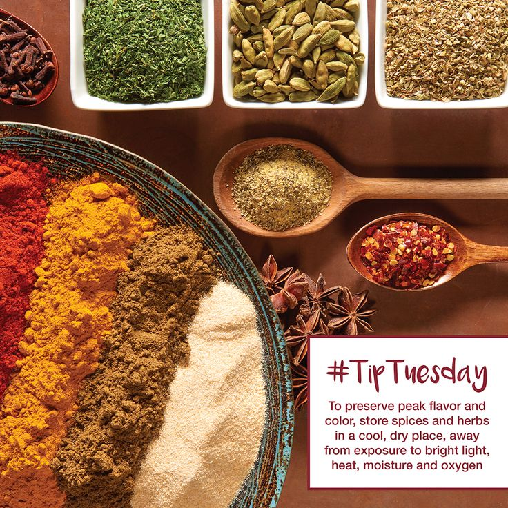 #TipTuesday To preserve peak flavor and color, store spices and herbs in a cool, dry place, away from exposure to bright light, heat, moisture and oxygen