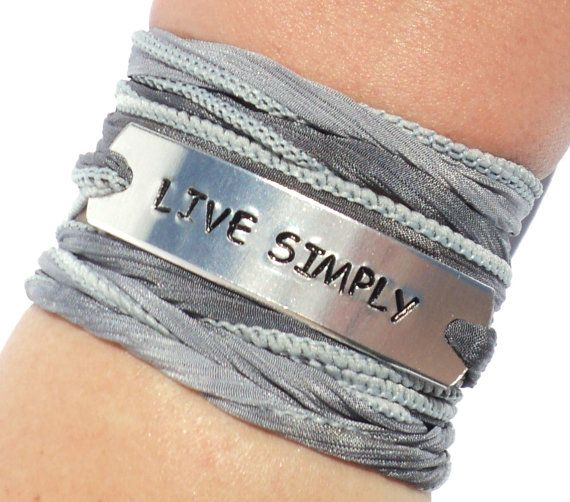 Live Simply Silk Wrap Bracelet Live Simple by BohemianEarthDesigns, $30.95