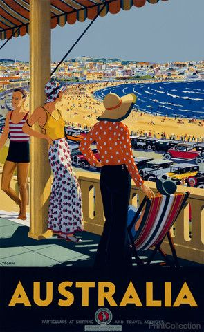 Australia travel poster showing showing three women, one seated, and a man standing on a balcony overlooking roadway and beach, with city in background. Created by Percy Trompf in the 1930's. Created