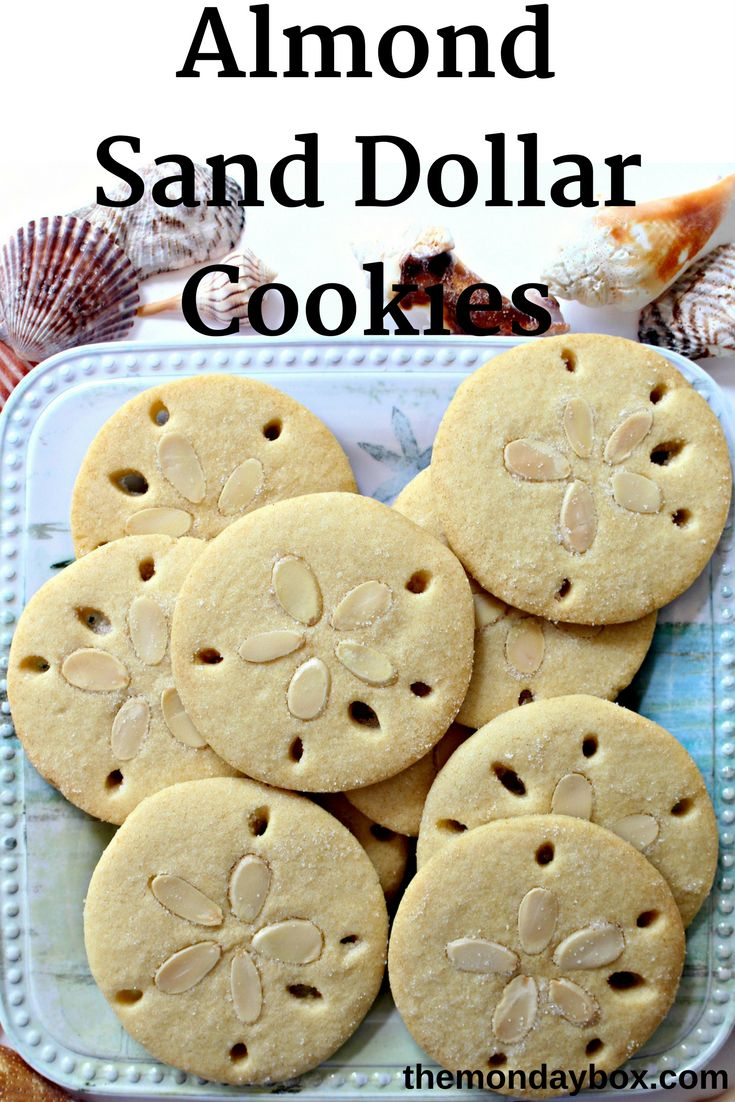 Almond Sand Dollar Cookies are crunchy, buttery treats that look remarkably like a treasured beachcombing find. A few sliced almonds and cutout holes are such an easy way to decorate these almond flavored cutout cookies.|themondaybox.com