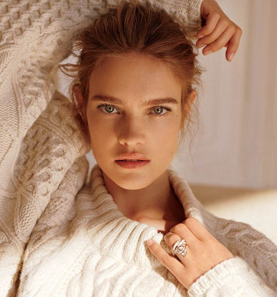 Natalia Vodianova wearing a sweater from The Row, Dior Fine Jewellery ring and a Cartier ring, photographed by Alasdair McLellan for WSJ magazine.