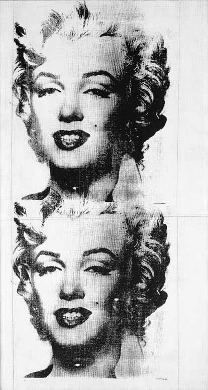 Obie głowy, nakładające się na siebie w miejscu połączenia obrazów, co podkreśla ich seryjny charakter, sygnowane są przez artystę, a całość opatrzona jest dedykacją dla nabywcy.  fot. Andy Warhol, Two Marilyns, 1962, zbiory prywatne #Marilyn #sztuka #pop #popkultura #kultura #Belting #Faces #twarz #portret #sitodruk #prasa