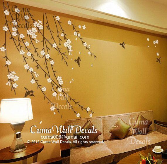 flower wall decals birds wall sticker nursery mural children wall art cherry blossom summer-flower birds Z151 by cuma