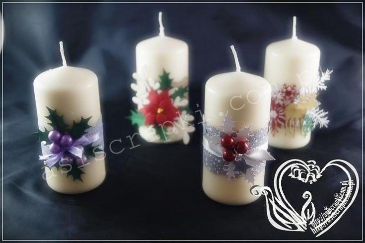 Świąteczne świece koniecznie muszą zjawić się na odświętnym stole. Tak więc zrobiłam kilka takich świec, aby podarować je bliskim i znajomym. Mam nadzieję, że nikomu nie zapaliła się część papierowej dekoracji Świąteczne świece