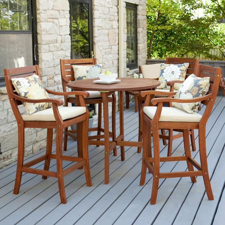 Brown Wooden Patio Furniture Sets Bar Height
