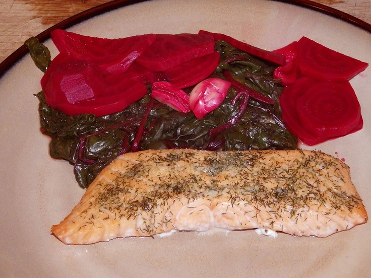 Salmon On A Cedar Plank Fresh Beets And Beet Tops From The Garden How Healthy Is That