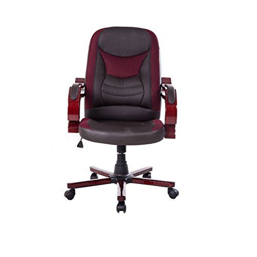 Chaise Fauteuil de bureau de luxe pivotant manager brun neuf 16: -Matériaux: Surface en simicuir PU, bras et pied en bois , siège et…