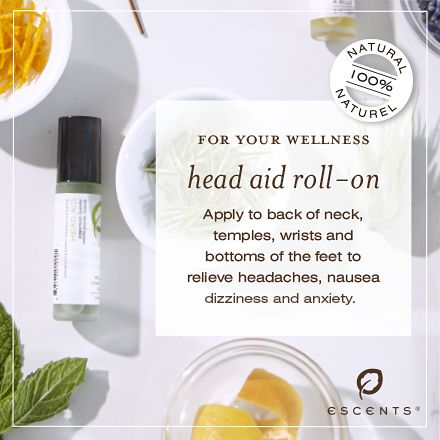 Head-Aid roll-on with Lavender and Peppermint essential oils to revlieve headaches, nausea and tension.