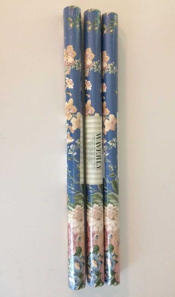 Waverly Wallpaper Lot 3 Double Rolls Retired Discontinued Floral Blue Pink Green #Waverly #Floral