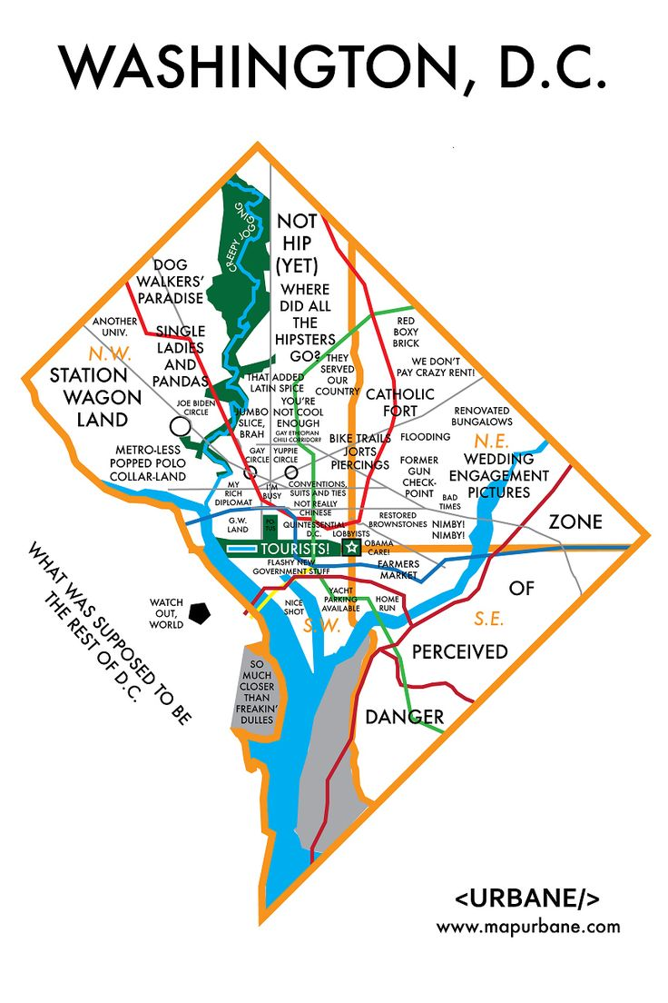 The map of D.C. that includes single ladies and pandas. / 8 City Maps That Are Annoyingly Accurate (via BuzzFeed)