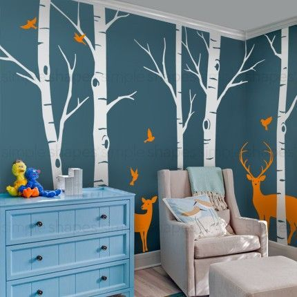 -Birch Tree Wall Decals- Customized birch tree decals for your living room, bedroom, or baby nursery! The birds and deers can go anywhere on the tree. Arrange them any way you like. This set includes five birch tree wall decals, five birds and two deers.