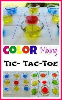 susan akins posted Play tic tac toe with a colorful twist. Learn primary and secondary colors and more importantly reiterate color addends. #waterplay #gamesforkids to their -Preschool items- postboard via the Juxtapost bookmarklet.