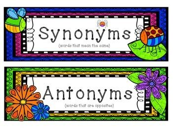 SPRING SYNONYMS AND ANTONYMS: A WORD MATCH LITERACY CENTER ...