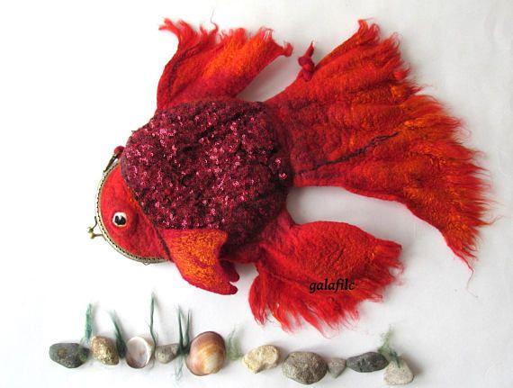 Felt fish purse cosmetic purse felt purse Red Fish fighting