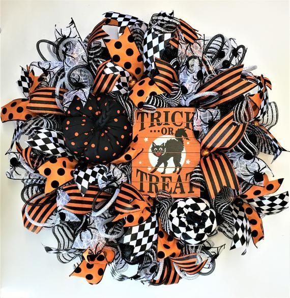 Halloween Wreath,Deco Mesh Halloween wreath,Halloween Door Wreath,Halloween Wreath with Pumpkins,Tri