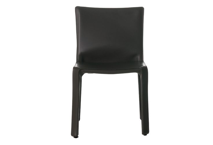 412 Cab, by Mario Bellini, is a chair  with enamelled steel frame. Leather upholstery zippered over the frame, in the following colours: natural, Russian red, black, mat brown, mat ivory, tobacco. The seat is padded with polyurethane foam.